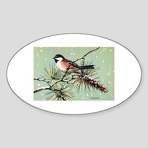 Chickadee Bird Oval Sticker