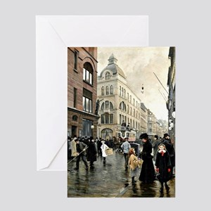 View of the Stroget, Copenhagen; Pau Greeting Card
