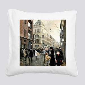 View of the Stroget, Copenhag Square Canvas Pillow