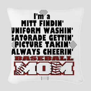 Baseball Mom Woven Throw Pillow
