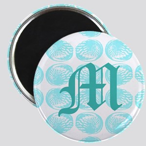 Teal Monogram and Shells Magnets