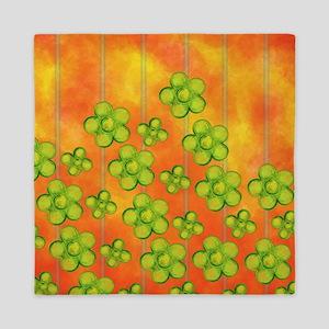 Green Flowers on Orange Queen Duvet
