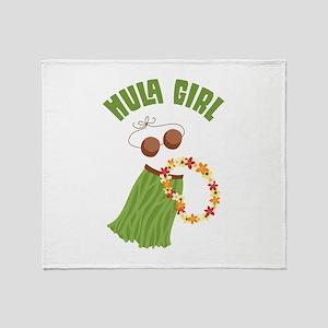Hula Girl Throw Blanket