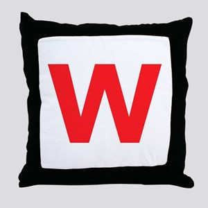 Letter W Red Throw Pillow