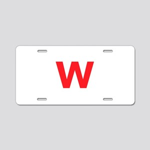 Letter W Red Aluminum License Plate