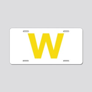 Letter W Yellow Aluminum License Plate