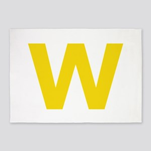 Letter W Yellow 5'x7'Area Rug