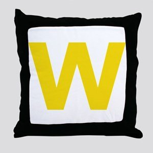 Letter W Yellow Throw Pillow