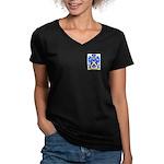 Fabbrucci Women's V-Neck Dark T-Shirt