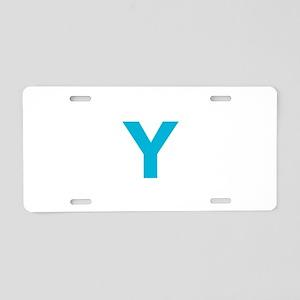 Letter Y Blue Aluminum License Plate