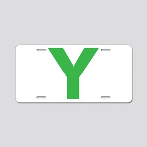 Letter Y Green Aluminum License Plate