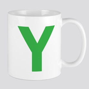 Letter Y Green Mugs