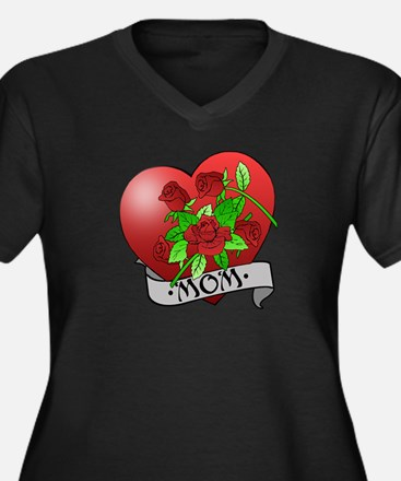 Mom Tattoo Mothers Day Women's Plus Size V-Neck Da