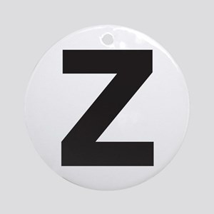Letter Z Black Ornament (Round)