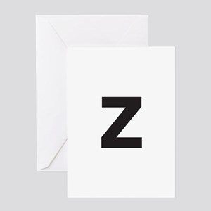 Letter Z Black Greeting Cards