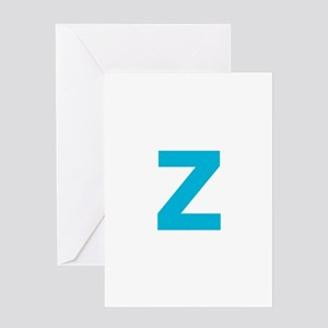 Letter Z Blue Greeting Cards