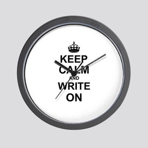 Keep Calm and Write on Wall Clock