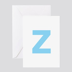 Letter Z Light Blue Greeting Cards