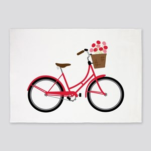 Bicycle Bike Flower Basket Sweet Ride 5'x7'Area Ru