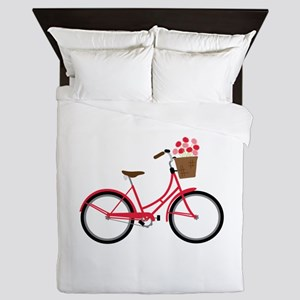 Bicycle Bike Flower Basket Sweet Ride Queen Duvet