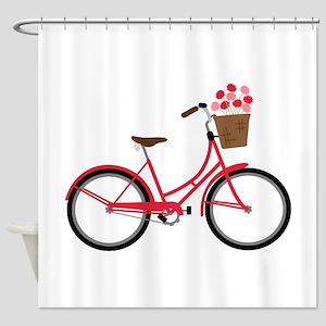 Bicycle Bike Flower Basket Sweet Ride Shower Curta