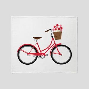 Bicycle Bike Flower Basket Sweet Ride Throw Blanke