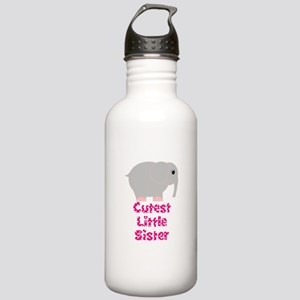 Pink Elephant Cutest Little Sister Water Bottle