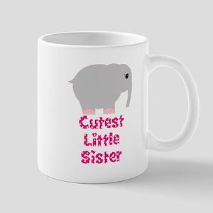 Pink Elephant Cutest Little Sister Mugs