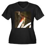 Red Dragonfly Women's Plus Size V-Neck Dark T-Shir