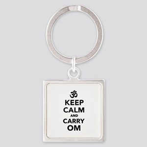 Keep calm and carry om Square Keychain