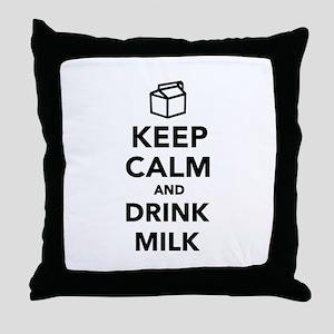Keep calm and drink Milk Throw Pillow