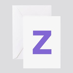 Letter Z Purple Greeting Cards