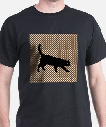 Cat Silhouette on Brown Polka Dot Background T-Shi