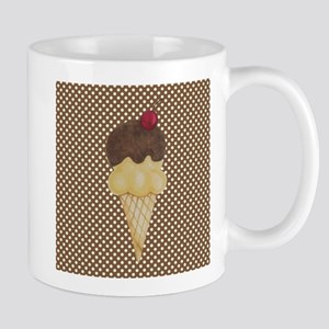Ice Cream Cone on Polka Dots Mugs
