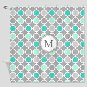Teal Grey Aqua Circles Monogram Shower Curtain