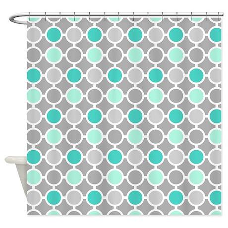Teal Grey Aqua Circles Pattern Shower Curtain By