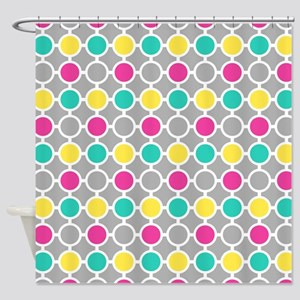 Pink Teal Yellow Circles Pattern Shower Curtain