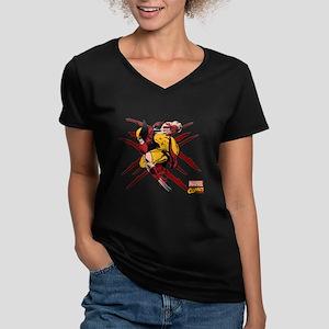 Wolverine Scratches Women's V-Neck Dark T-Shirt