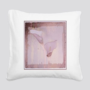 Pink calla lilies Square Canvas Pillow