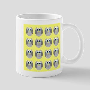 OWLSHOWERCURTAINTILEDYELLOW Mugs