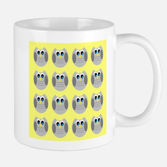 OWLSHOWERCURTAINTILEDYELLOW Mugs