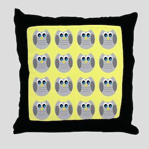 OWLSHOWERCURTAINTILEDYELLOW Throw Pillow