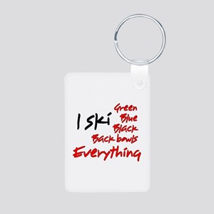 I Ski Aluminum Photo Keychain