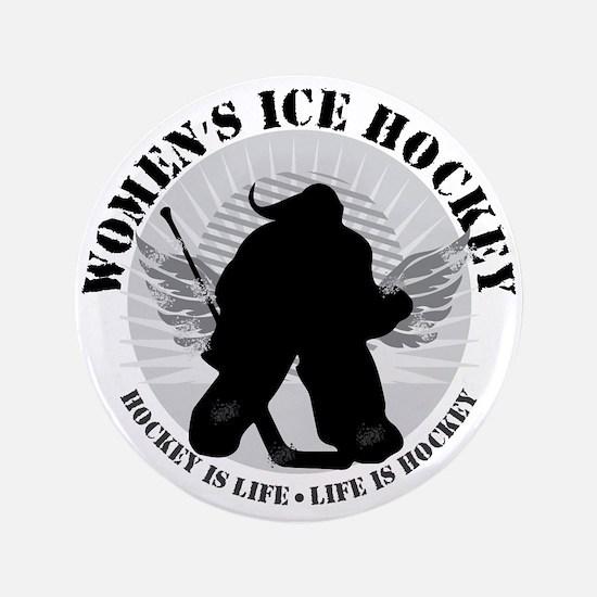 "Women's Ice Hockey 3.5"" Button"