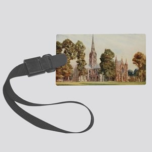 Cathedral at Salisbury, England  Large Luggage Tag