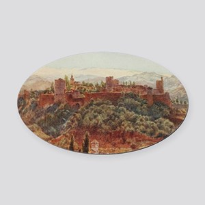 The Alhambra at Granada, Spain Oval Car Magnet