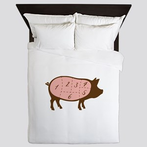 Pig Meat Cuts Numbered Queen Duvet