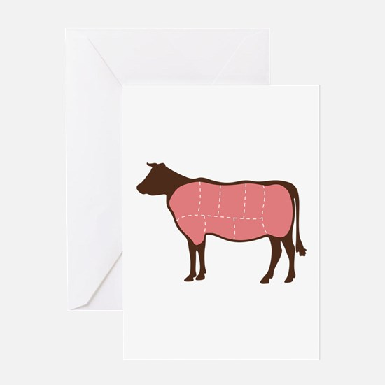 Cow Meat Cuts Greeting Cards