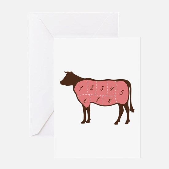 Cow Meat Cuts Numbered Greeting Cards