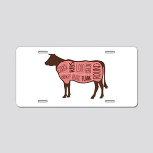 Cow Meat Cuts Diagram Aluminum License Plate